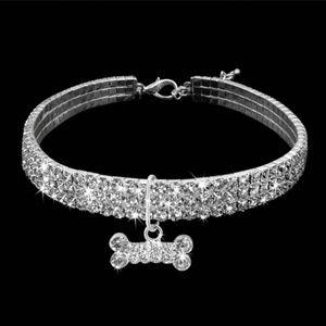 Jewelry - Princess Dog Puppy Silver Rhinestone Bone Collar